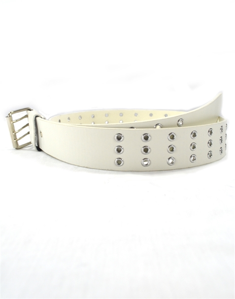 3-Hole Rivet White Belt (S)